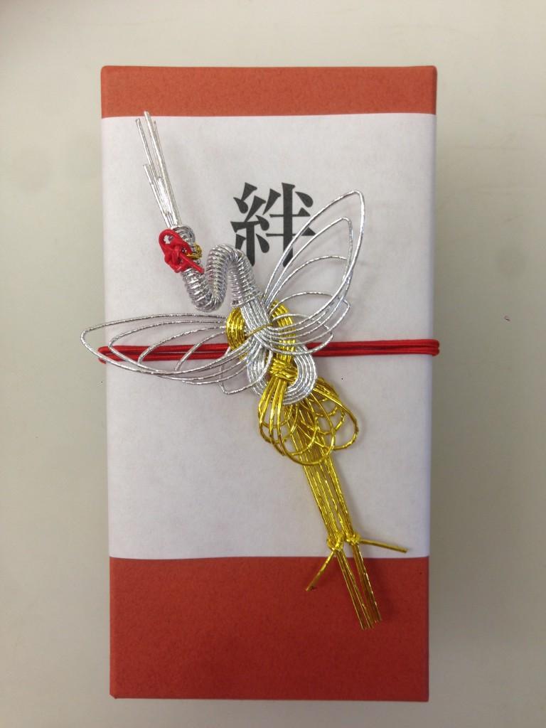 水引飾り・鶴のプレゼント用和風ラッピング