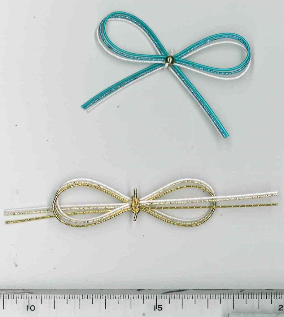 水引リボン結び青、金|プレゼントラッピング資材