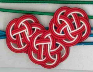 赤赤白3本梅結び