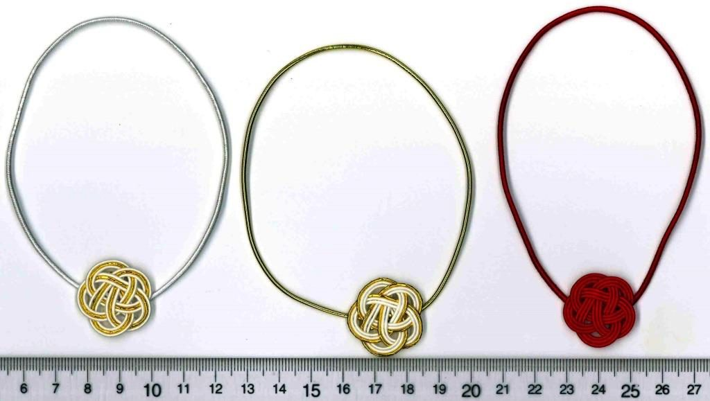 水引梅結び3種類 白金白、金白白、赤一色