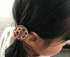 水引玉結びと立体梅結びの髪飾り