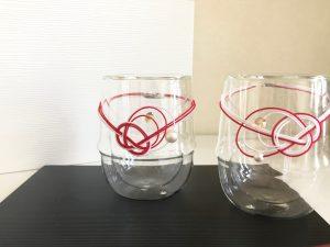 水引あわじ結びのグラス飾り
