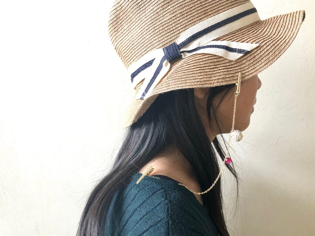 水引玉(あわじ玉)の帽子クリップ